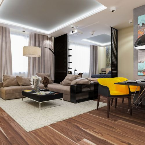 现代简约风格气质客厅灰色沙发效果图