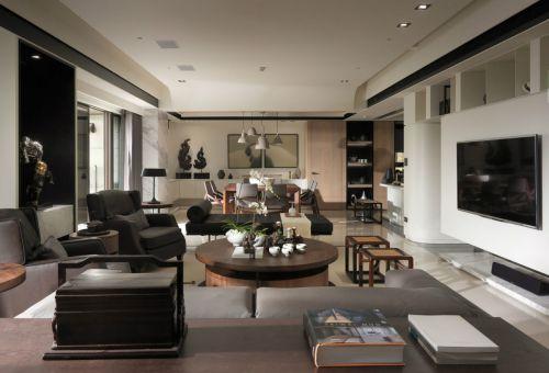 气质优雅现代风格敞亮客厅装修实景图