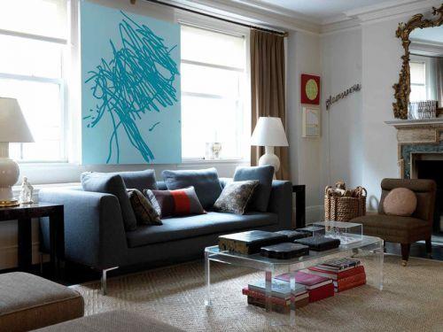 清爽现代风格客厅个性背景墙设计图