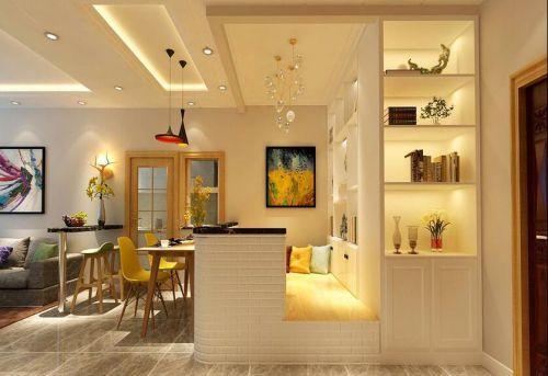 现代简约二居室客厅吊顶装修效果图