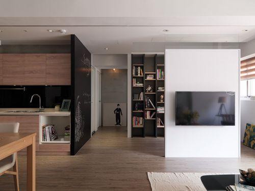开放式现代风格客厅背景墙装修实景图