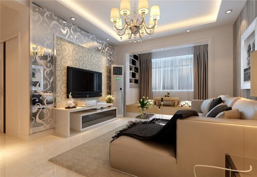 现代简约二居室客厅吊顶装修效果图大全
