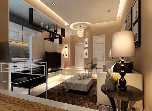 现代简约二居室客厅背景墙装修效果图欣赏
