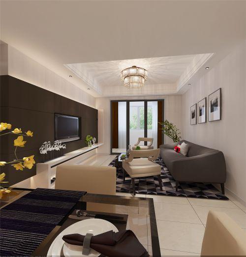 现代简约三居室客厅背景墙装修效果图欣赏