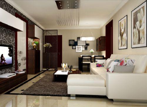 现代简约别墅客厅飘窗装修效果图