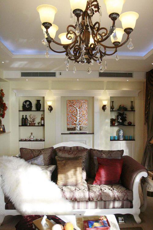 艺术感三居简欧装修样板间客厅实景图