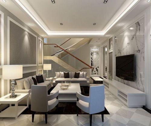 简欧风格五居室客厅壁纸装修效果图欣赏
