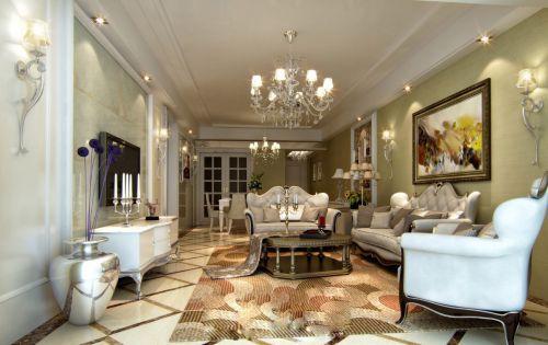 白色明亮简欧风格客厅装修效果图