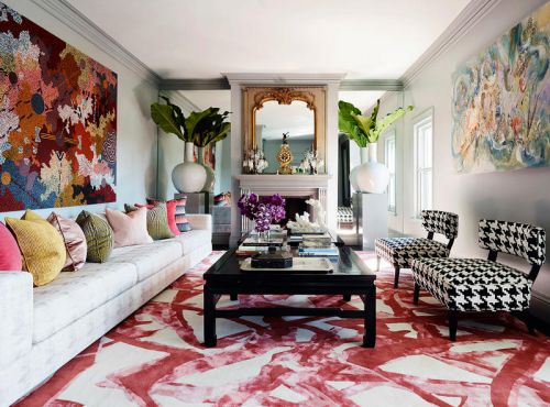 自由奔放简欧风格彩色客厅装修效果图