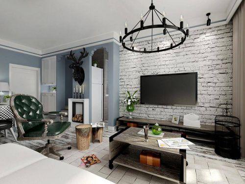 30平米简欧风单身公寓客厅装修效果图