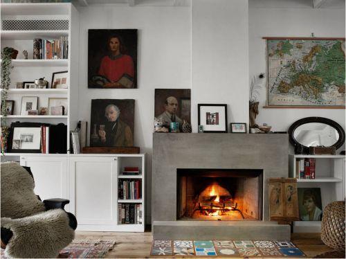 温暖简欧风格客厅壁炉装修实景图