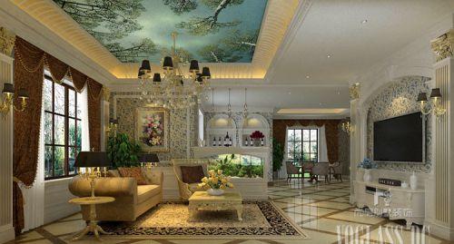 简欧风格四居室客厅背景墙装修效果图