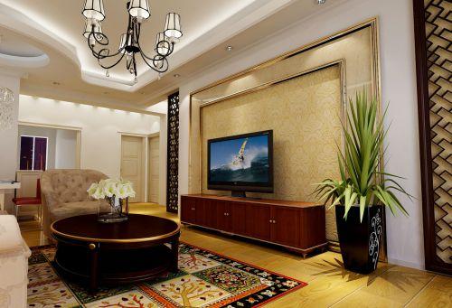 客厅简欧风格实木电视柜效果图