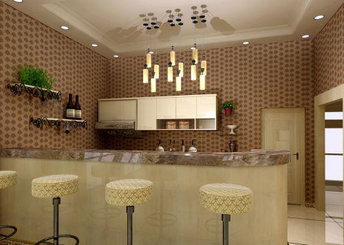 134平简欧三居客厅米色大理石吧台装修