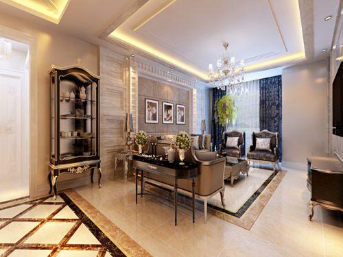 简欧风格二居室客厅影视墙装修图片
