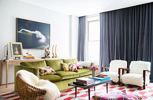 绿色沙发简欧风格客厅装修效果图