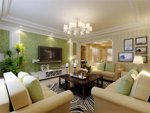 简欧风格清新绿色客厅壁纸装修效果图