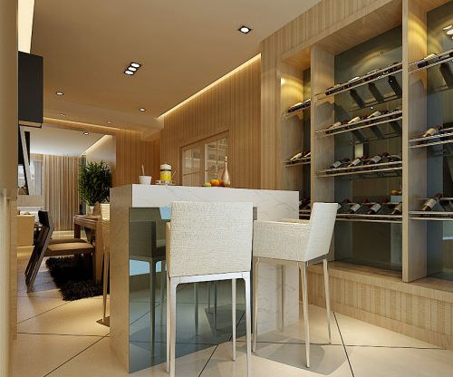 100平简欧两居室白色客厅吧台装修效果图