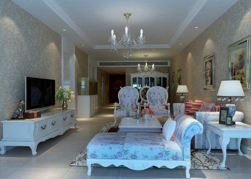 白色简欧风格混搭乡村客厅装修效果图