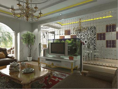 简欧三居室客厅装修效果图