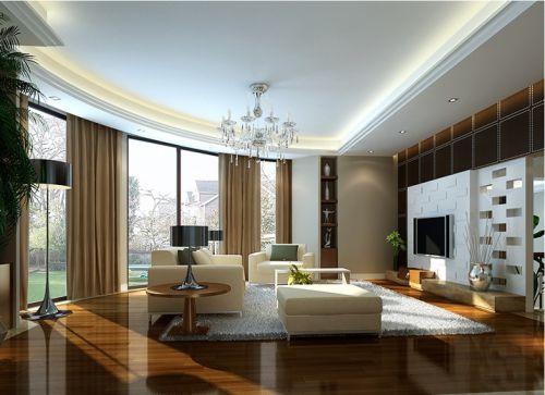 简欧风格三居室客厅影视墙装修效果图欣赏