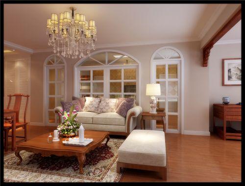 简欧风格三居室客厅沙发装修图片
