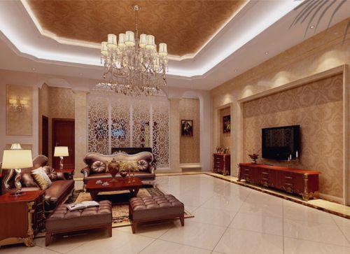 简欧风格五居室客厅照片墙装修效果图欣赏