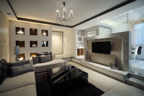 简欧风格三居室客厅灯具装修图片