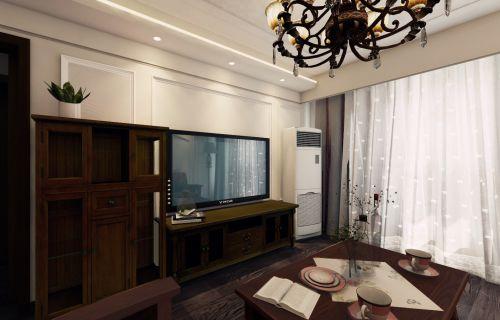 简欧风格二居室客厅组合柜装修图片