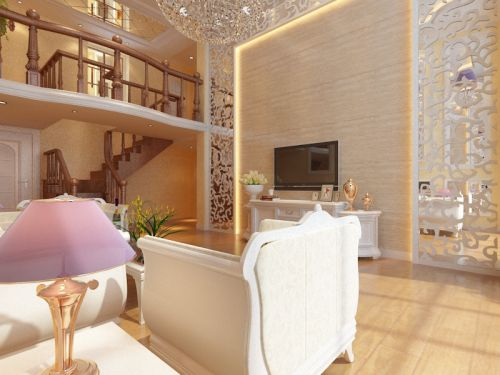 简欧风格三居室客厅电视柜装修效果图大全