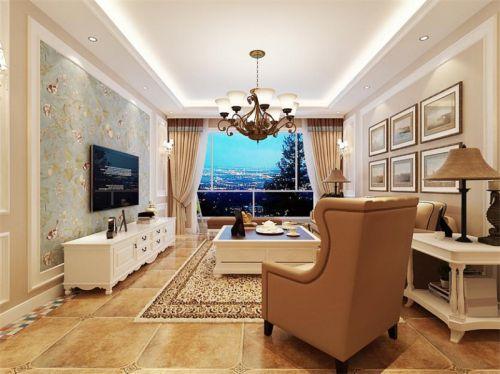 简欧风格二居室客厅壁纸装修图片