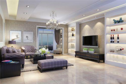 简欧风格三居客厅灰色纹理壁纸装修效果图