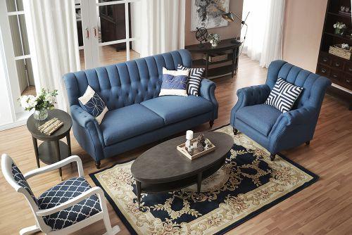 优雅奢华简欧风格客厅蓝色沙发装修图片