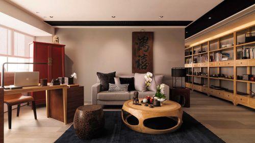 禅意中式风格原木色客厅装修实景图