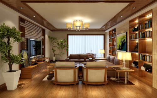 四居室原木色中式风格客厅电视柜效果图