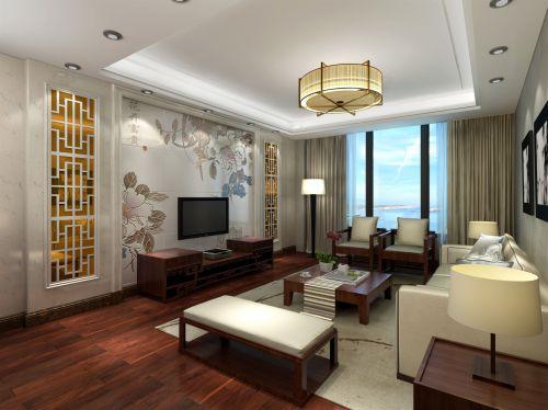 古韵浓浓中式风格客厅背景墙实景图