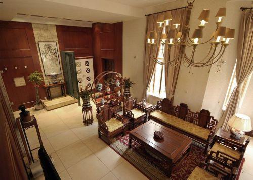 中式古典风格客厅原木色博古架装修效果图
