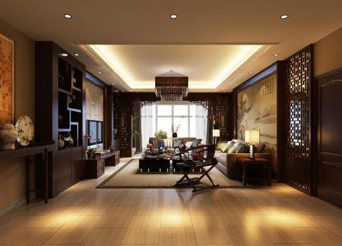 中式古典风格复式客厅黑色博古架装修效果图
