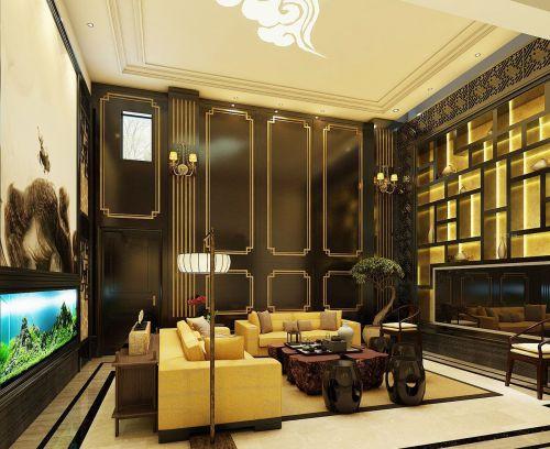 豪华别墅中式客厅屏风效果图