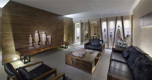 160平米中式风格客厅木质茶几效果图