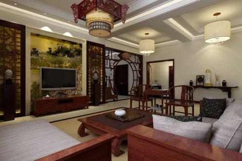 佛文化中式古朴背景墙沙发客厅装修效果图