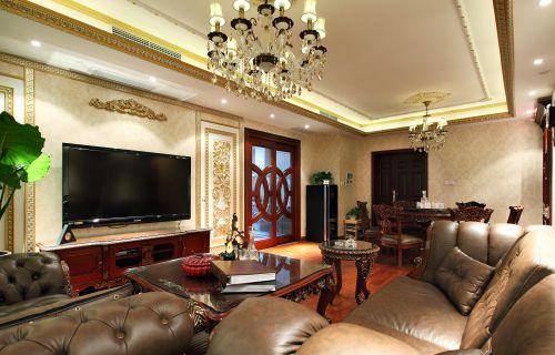 三居室中式黄色大气客厅吊灯灯具效果图