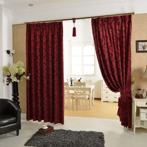 红色中式客厅遮光窗帘效果图