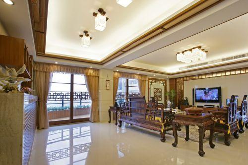 典雅复古中式风格咖啡色客厅装修设计