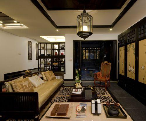 中式风格二居室客厅壁纸装修图片