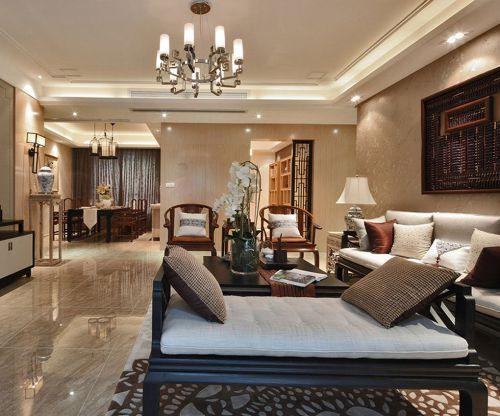 中式古典三居室客厅壁纸装修效果图欣赏
