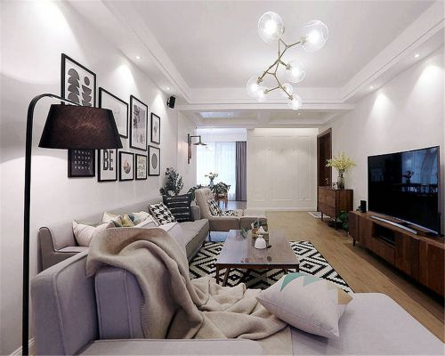 中式风格二居室客厅吊顶装修效果图