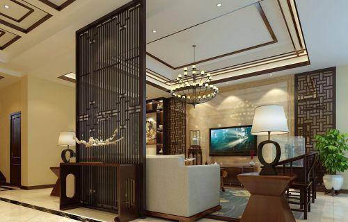 奢华中式风三室两厅客厅处屏风效果图