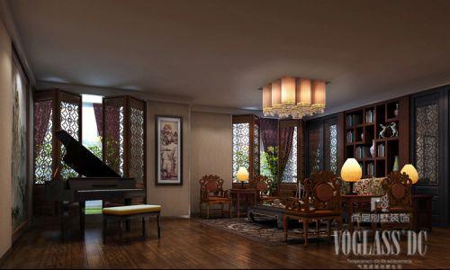 中式古典四居室客厅吊顶装修图片