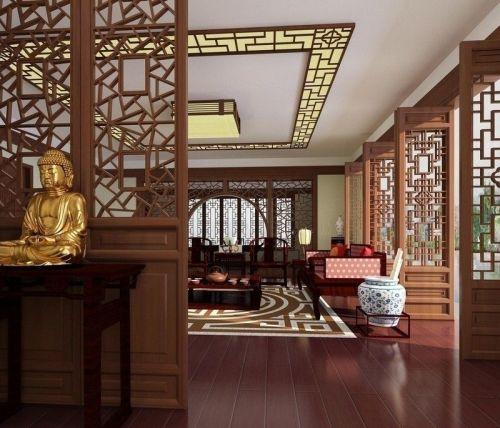 中式风格别墅客厅茶几装修设计效果图